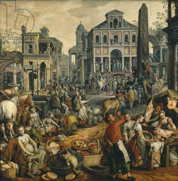 Scene de marche avec Ecce Homo - Market Scene with Ecce Homo, by Beuckelaer, Joachim (ca. 1533-1574). Oil on wood, 1565. Dimension : 146x148 cm. Nationalmuseum Stockholm