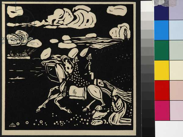 The Knights (Les Chevaliers), by Kandinsky, Wassily Vasilyevich (1866-1944). Woodcut, 1907. Dimension : 14,3x14,5 cm. Private Collection