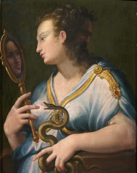 Allegorie de la prudence - Allegory of Prudence par Macchietti, Girolamo (c. 1535-1592). Oil on canvas, size : 71x57, , Private Collection