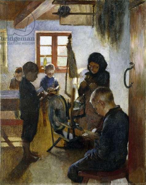 A l'ecole du village - In the Village School, by Bjorck, Oscar (1860-1929). Oil on canvas, 1884. Dimension : 76,5x60,5 cm. Nationalmuseum Stockholm