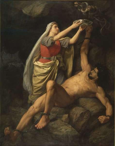 Loki et Sigyn - Loki and Sigyn, by Winge, Marten Eskil (1825-1896). Oil on canvas, 1863. Dimension : 348x275 cm. Nationalmuseum Stockholm