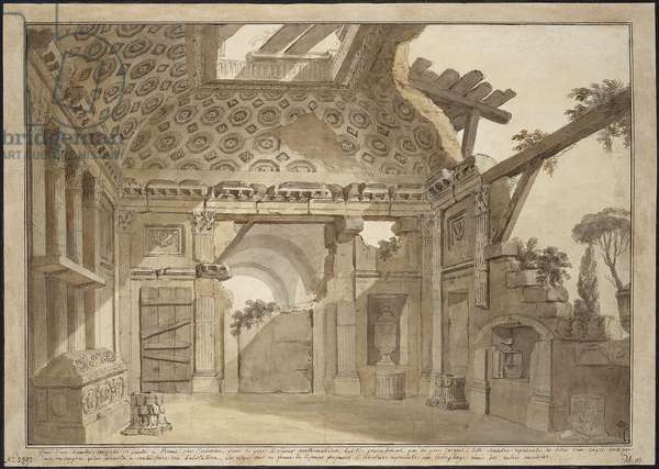 Design for the paintings in the cell of Father Lesueur in the Monastery of Santissima Trinita dei Monti in Rome - Charles Louis Clerisseau (1722-1820). Pen, brush, grey and brown ink, white colour on paper, ca 1760. Dimension : 36,9x53 cm. State Hermitage, St. Petersburg