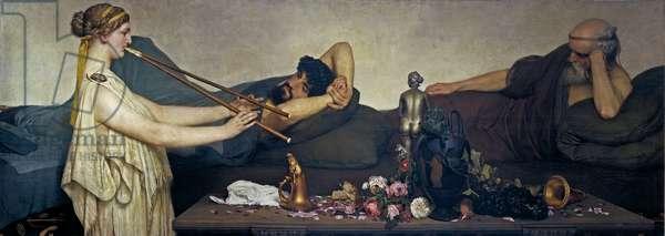 Pompeian Scene or The Siesta - Peinture de Sir Lawrence Alma Tadema (Alma-Tadema)(1836-1912) - 1868 - Oil on canvas - 130x360 - Museo del Prado, Madrid