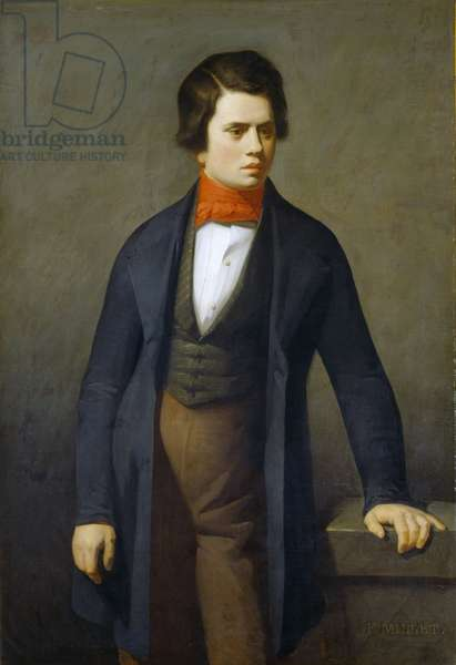 Portrait of Leconte de Lisle (1818-1894) - Millet, Jean-Francois (1814-1875) - c. 1840 - Oil on canvas - 117x81 - Private Collection