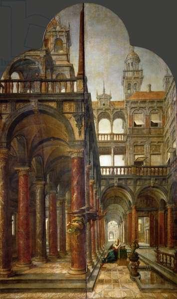The Annunciation - Hans von Aachen (1552-1615). Oil on wood, 1598. Dimension : 221x140 cm. Art History Museum, Vienne