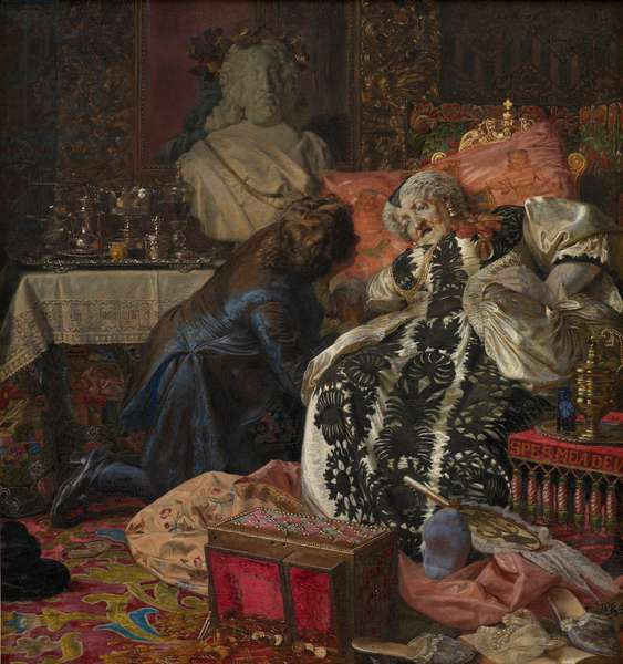 Zahrtmann, Kristian (1843-1917) The Death of Queen Sophie Amalie (Sophie-Amelie de Brunswick-Calenberg) Oil on canvas 1882 Statens Museum for Kunst, Copenhagen 92,5x86,5