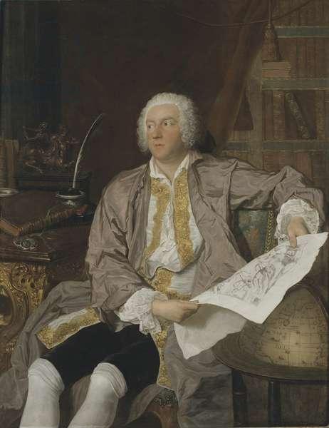 Charles Gustave de Tessin, aristocrate et homme politique suedois - Portrait of Carl Gustaf Tessin (1695-1770), by Aved, Jacques-Andre Joseph (1702-1766). Oil on canvas. Dimension : 149x116 cm. Nationalmuseum Stockholm