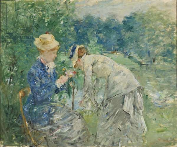 Au bois de Boulogne - In the Bois de Boulogne, by Morisot, Berthe (1841-1895). Oil on canvas, before 1880. Dimension : 61x73,5 cm. Nationalmuseum Stockholm