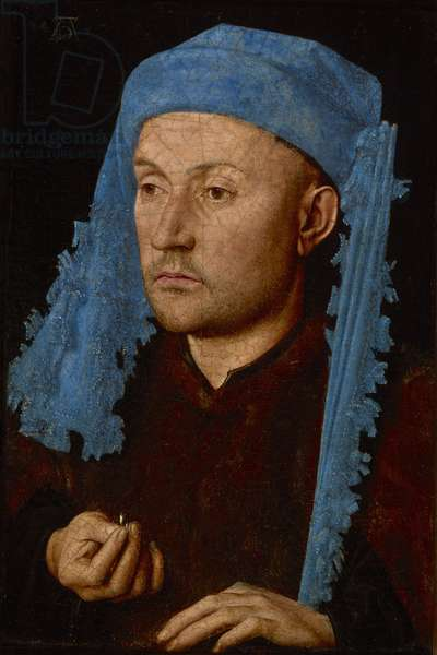 Portrait of a man with a blue chaperon (Man with Ring), c.1429 (oil on wood)