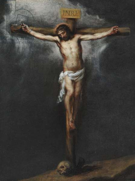 The Crucifixion par Murillo, Bartolome Esteban (1617-1682). Oil on canvas, size : 43,9x33,3, , Private Collection