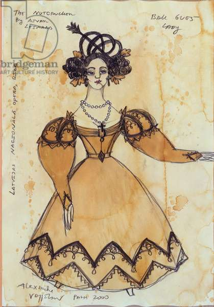 Costume design for a female ball guest from Tchaikovsky's ballet 'The Nutcracker', 2000 (w/c & gouache on paper)