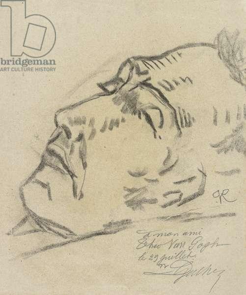 Vincent van Gogh (1853-1890) sur son lit de mort, dessin de Paul Ferdinand van Ryssel (pseudonyme de Paul Gachet), 1890 - Vincent van Gogh on his deathbed, by Van Ryssel (Dr. Paul Gachet), Paul-Ferdinand (1828-1909). Pencil on Paper, 1890. Van Gogh Museum, Amsterdam