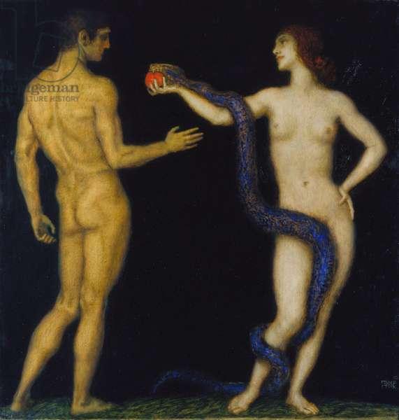 Adam and Eve, by Stuck, Franz, Ritter von (1863-1928). Oil on wood, 1920-1925. Staedtische Galerie im Staedelschen Kunstinstitut, Frankfurt am Main