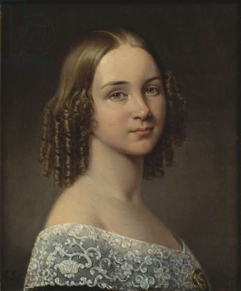 Jenny (Johanna Maria) Lind - Portrait of the Soprano Jenny Lind (1820-1887), by Sandberg, Johan Gustaf (1782-1854). Oil on wood, after 1844. Dimension : 24x19 cm. Nationalmuseum Stockholm