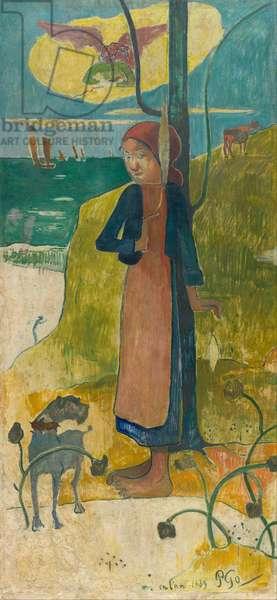 Jeune Bretonne au rouet (Jeanne d'arc) - Breton Girl Spinning (Joan of Arc) - Peinture de Paul Eugene Henri Gauguin (1848-1903), 1889 - Oil on canvas - Van Gogh Museum, Amsterdam