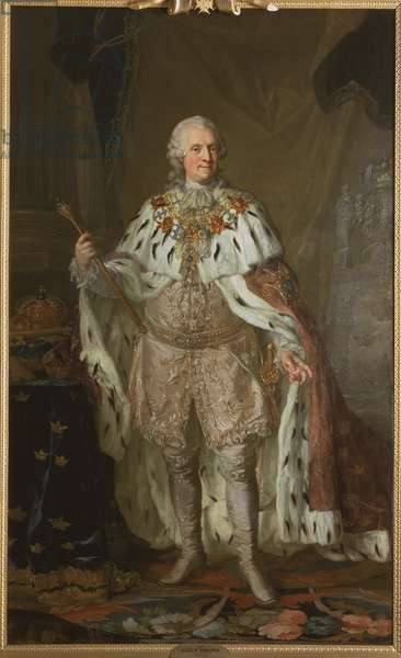 Adolphe Frederic de Suede - Portrait of Adolph Frederick (1710-1771), King of Sweden, by Pasch, Lorenz, the Younger (1733-1805). Oil on canvas. Dimension : 237x143 cm. Nationalmuseum Stockholm