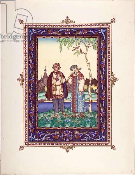 Snegourotchka ( ou Snegourka, la Fille de neige) - Illustration for the Fairy tale Snegurochka par Zvorykin, Boris Vasilievich (1872-after 1935), c. 1925 - Colour Lithography, 27,3x20,5 - Private Collection