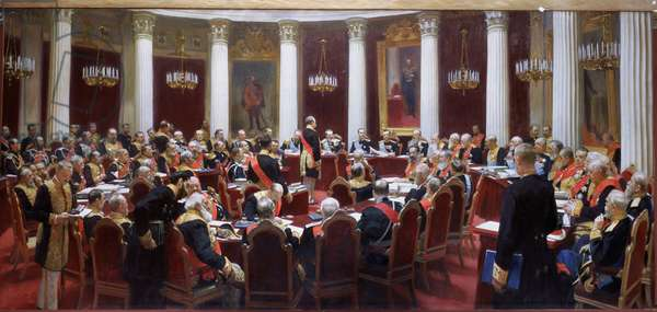 The centenary session of the State Council in the Marie Palace on 5th May 1901 (oil on canvas)