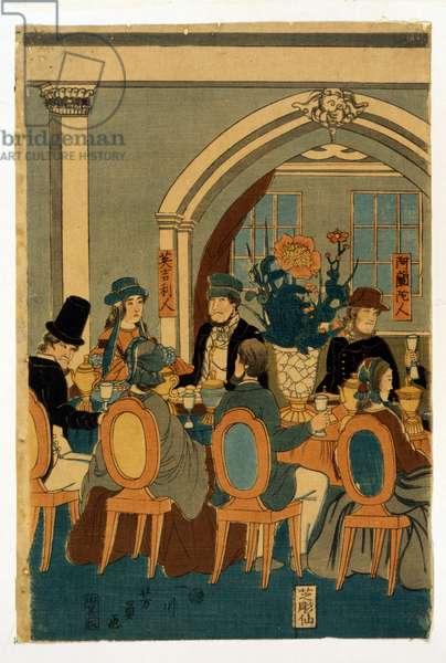 Banquet of five nations (Yokohama club) par Utagawa, Yoshitomi (active 1850-1870), 1861 - Colour woodcut, 36x24,5 - Private Collection