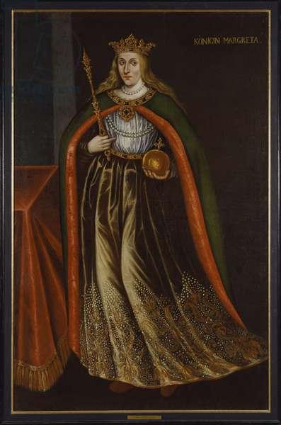 Marguerite I de Danemark, Norvege et Suede, dite la Semiramis du Nord - Portrait of Margaret I of Denmark (1353-1412), Anonymous . Oil on canvas. Dimension : 206x136 cm. Nationalmuseum Stockholm