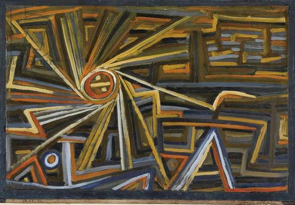 Rayonnement et Rotation par Klee, Paul (1879-1940). Oil on paper, size : 35,6x52, 1924, Private Collection