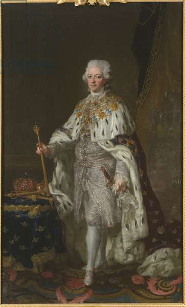 Gustave III de Suede - Portrait of King Gustav III of Sweden (1746-1792), by Pasch, Lorenz, the Younger (1733-1805). Oil on canvas. Dimension : 237x143 cm. Nationalmuseum Stockholm