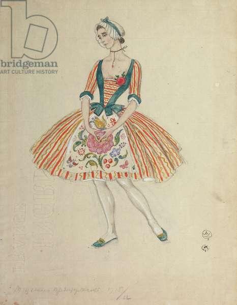 Costume design for the ballet 'La Fille Mal Gardee' by J. Dauberval, 1915 (w/c on paper)