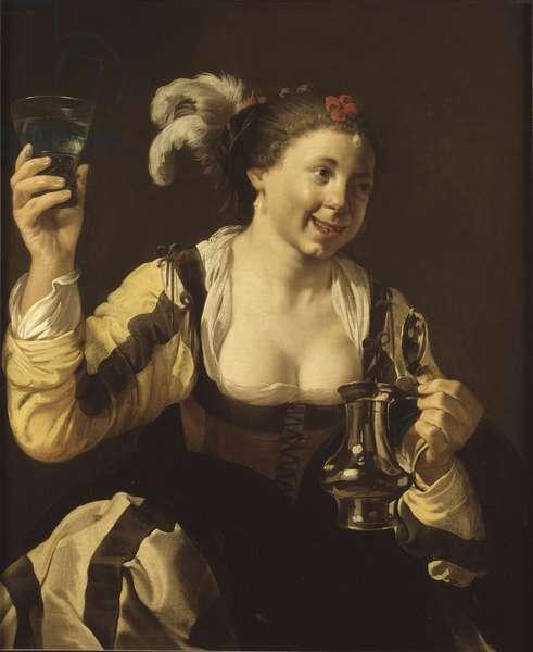 """Une fille tenat un verre ( le gout, serie des cinq sens) - A Girl Holding a Glass (Taste. From the Series """"""""The Five Senses""""""""), by Terbrugghen, Hendrick Jansz (1588-1629). Oil on canvas, 1620s. Dimension : 103x84 cm. Nationalmuseum Stockholm"""