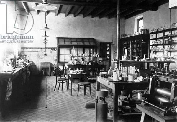 Laboratorium of Alfred Nobel at his Villa in Sanremo, 1890s (b/w photo)