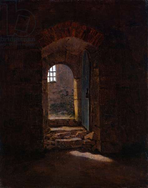 """""""""""Porte d'entree de l'Ecole Royale de Meissen"""""""" (Doorway in Meissen) Peinture de Caspar David Friedrich (1774-1840) - 1827 - Oil on canvas Dim 31x25 cm Dresden State Art Collections"""