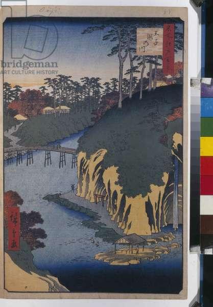 Cent vues celebres d'Edo : The Takinogawa in Oji (One Hundred Famous Views of Edo) - Hiroshige, Utagawa (1797-1858) - 1856-1858 - Colour woodcut - State Hermitage, St. Petersburg
