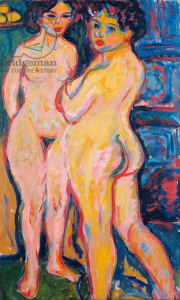 """""""""""Femmes nues debout pres du poele"""""""" (Nudes Standing by Stove) Peinture d'Ernst Ludwig Kirchner (1880-1938) - 1908 - Oil on canvas Dim 150x95 cm Dresden State Art Collections Dresde"""