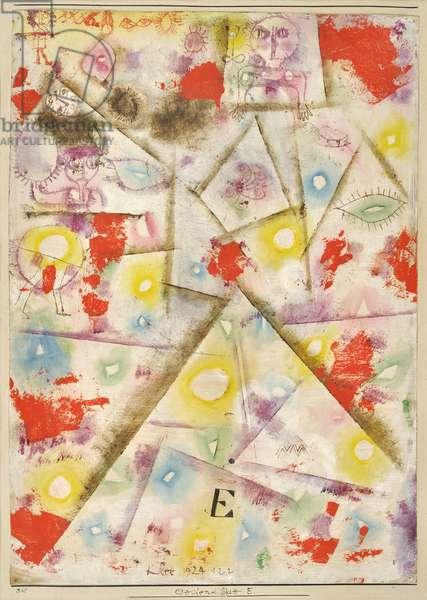 Feuille commemorative E par Klee, Paul (1879-1940), 1924 - Oil on paper, 39,5x28 - Private Collection