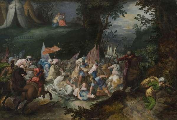 Bataille entre les Israelites et les Amalecites - Battle between the Israelites and the Amalekites, by Casteels, Pauwels (active ca 1649-1680). Oil on wood. Dimension : 45x65 cm. Nationalmuseum Stockholm