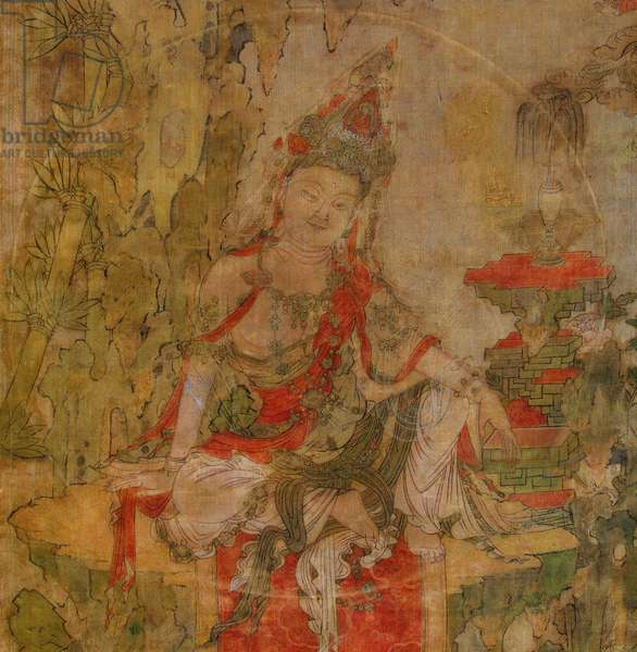 Tibetan culture : Water and Moon Kuan-Yin (Guanyin). Tempera on silk, size : 101,5x59,5, Early 12th century, State Hermitage, St. Petersburg