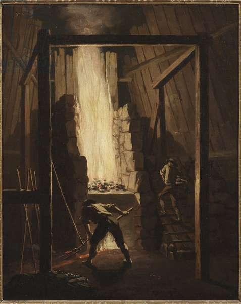 Interieur de la fonderei de cuivre a Falun (Suede) - Interior of the Copper Foundry in Falun, by Hillestroem, Pehr (1732-1816). Oil on canvas, 1781. Dimension : 55x45 cm. Nationalmuseum Stockholm