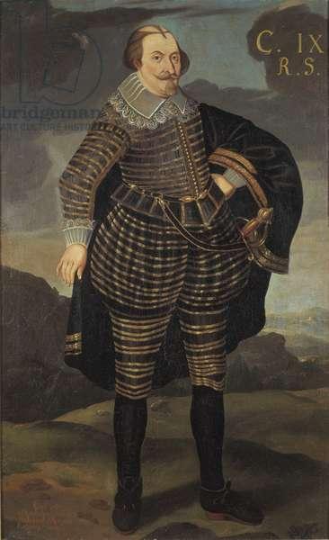Charles IX roi de Suede - Portrait of King Charles IX of Sweden (1550-1611), Anonymous . Oil on canvas. Dimension : 195x120 cm. Nationalmuseum Stockholm