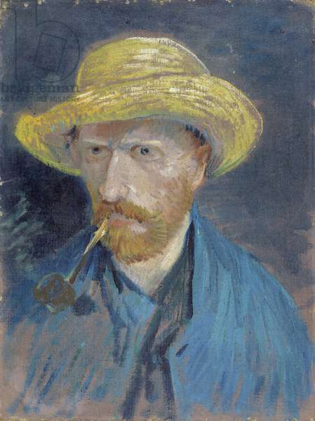 Self-Portrait with Straw Hat and Pipe par Gogh, Vincent, van (1853-1890). Oil on canvas, size : 42,5x32,1, 1887, Van Gogh Museum, Amsterdam