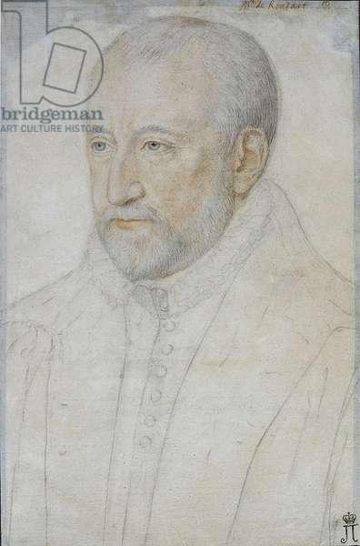 Portrait of Pierre de Ronsard (1524-1585) par Foulon, Benjamin (ca 1550-ca 1612). Black chalk and sanguine on paper, size : 33x23, Second half of the16th cen., State Hermitage, St. Petersburg