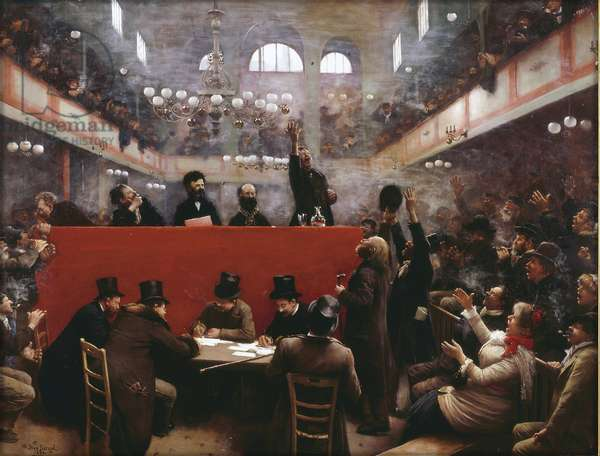 At the Graffard Meeting Hall (Reunion a la salle Graffard) (situee au 138, boulevard de Menilmontant a Paris ) par Beraud, Jean (1849-1936), 1884 - Oil on canvas, 89x117 - Private Collection