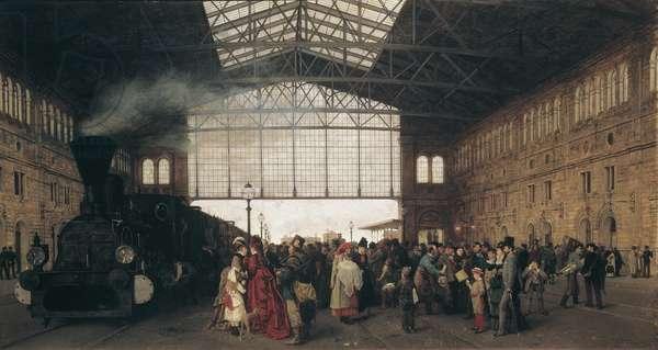 Arrival of a Train at Vienna Northwest Station par Karl Karger (1848-1913), 1875 - Oil on canvas - Oesterreichische Galerie Belvedere, Vienna