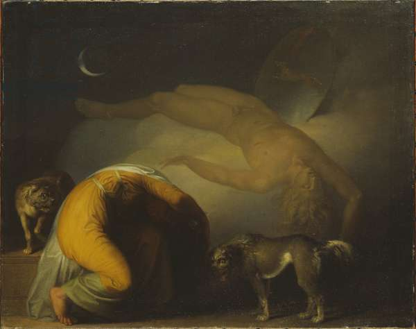L'esprit de Culmin apparait a sa mere, extrait des chants d'Ossian - The Spirit of Culmin Appears to his Mother. From the Songs of Ossian, by Abildgaard, Nicolai Abraham (1743-1809). Oil on canvas, ca 1794. Dimension : 63x78 cm. Nationalmuseum Stockholm