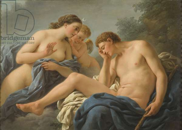 Diane et Endymion - Diana and Endymion, by Lagrenee, Louis Jean Francois, dit l'aine (1725-1805). Oil on copper, 1768. Dimension : 25x35 cm. Nationalmuseum Stockholm