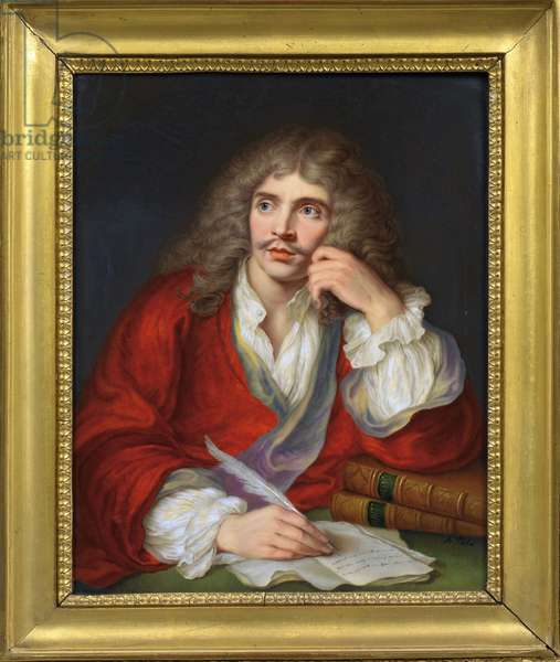 Portrait of the author Moliere (1622-1673) - Gouache on Porcelain by Aimee Perlet,  (aktiv 1824-1845) -  -  Private Collection