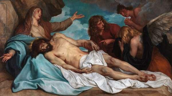 Lamentation sur le corps du Christ - The Lamentation over Christ, by Dyck, Sir Anthony van (1599-1641). Oil on canvas, c. 1635. Dimension : 115x208 cm. Royal Museum of Fine Arts, Antwerp