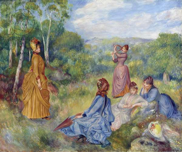 Young Ladies Playing Badminton par Renoir, Pierre Auguste (1841-1919), ca 1887 - Oil on canvas, 54,6x65,2 - Private Collection