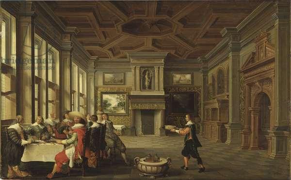 Diner distingue dans un interieur - Distinguished Dinner Company in an Interior, by Delen, Dirck van (c. 1605-1671). Oil on canvas, 1631. Dimension : 43,4x68,5 cm. Nationalmuseum Stockholm