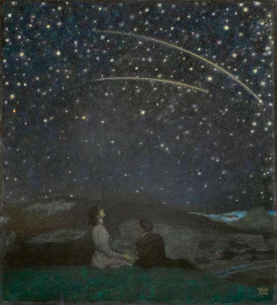 Les etoiles filantes (Franz et Mary von Stuck) - Shooting Stars (Franz and Mary Stuck), by Stuck, Franz, Ritter von (1863-1928). Oil on wood, 1912. Dimension : 65x58,5 cm. Private Collection