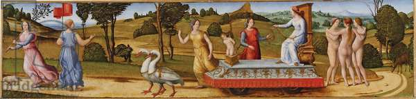 Le triomphe de la Chastete - The Triumph of Chastity - Anonymous, (Pseudo Granacci) (active between 1490 and 1525) - c. 1500 - Tempera and oil on wood - 32,9x141,6 - Walters Art Museum, Baltimore