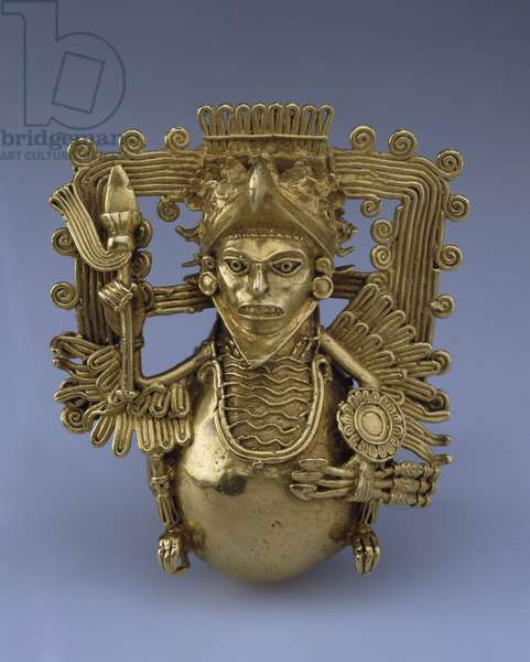 Bell pendant, in the Form of an Eagle Warrior par Pre-Columbian art, Late 15th cen. - Gold, H 9 - State Hermitage, St. Petersburg